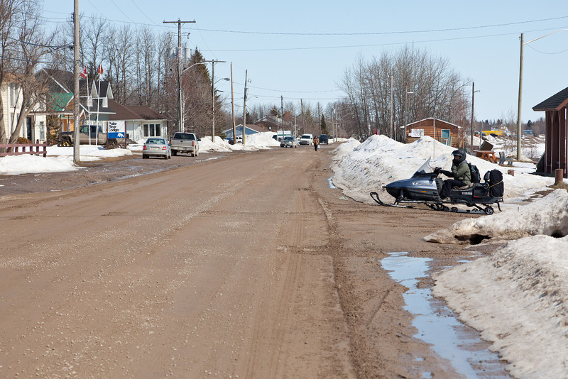 Snowmobile on Revillon Road 2011 April 12
