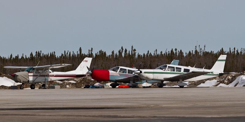 Small aircraft at Moosonee Airport.