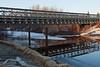 Bridge across Butler Creek 2011 April 30 with start of construction for new bridge beside it