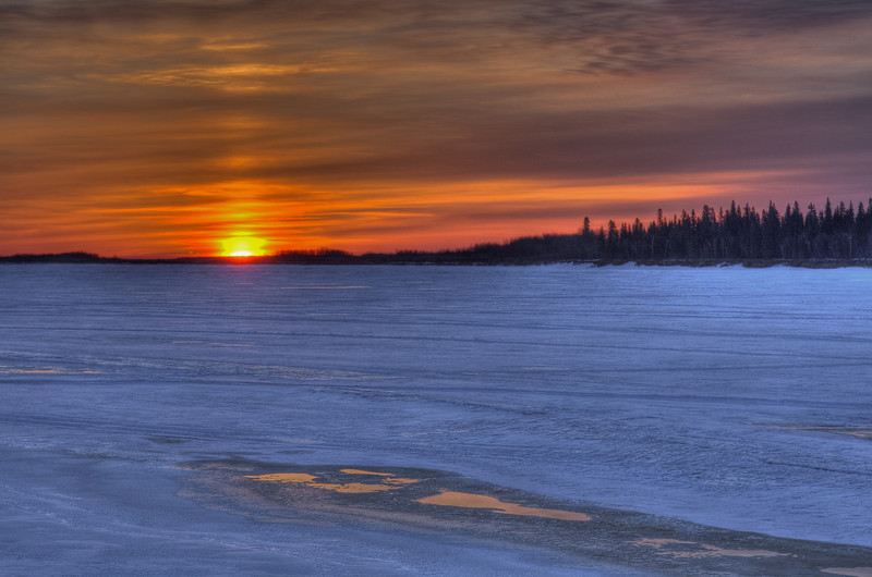 Sunrise over the Moose River 2011 April 20th. HDR image produced from three separate images taken at different exposures.