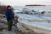 Denise Metatawabin with ice on the Moose River in Moosonee