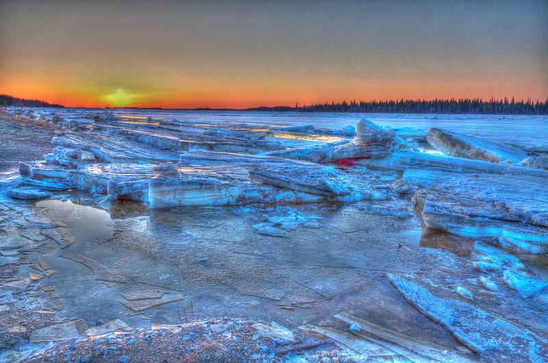 Looking down the Moose River before dawn 2011 April 30th at Moosonee, Ontario. HDR image from three separate exposures.