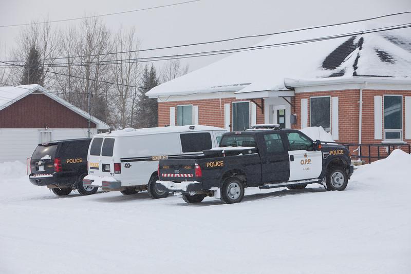 Ontario Provincial Police vehicles at the Moosonee Detachment