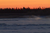 Almost sunrise; looking across the Moose River from Moosonee.