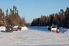 Start of the winter road at Bay Road in Moosonee, Ontario.