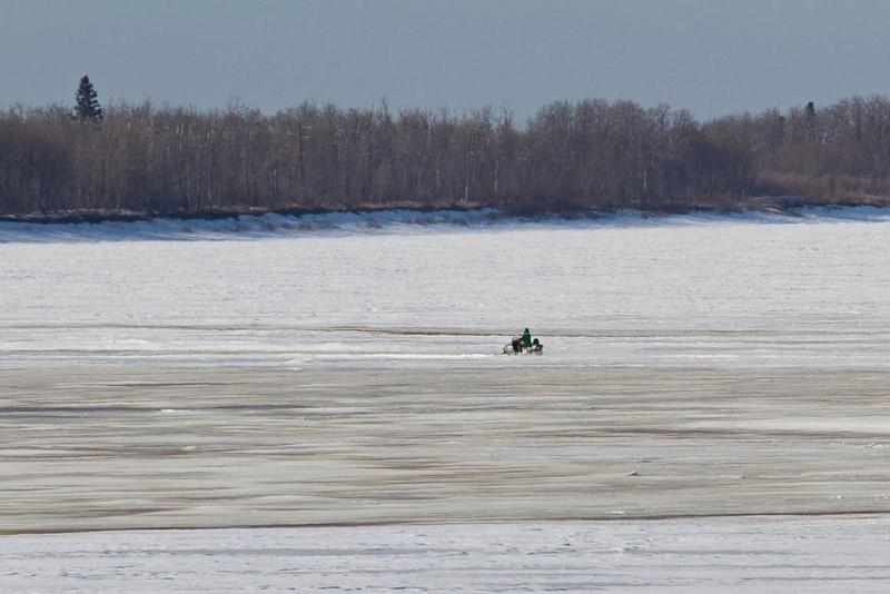 Snowmobile on the Moose River 2011 April 20th