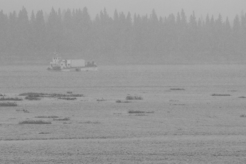 Barge Manitou Island II on its way to Moose Factory from Moosonee 2011 Oct 27th.