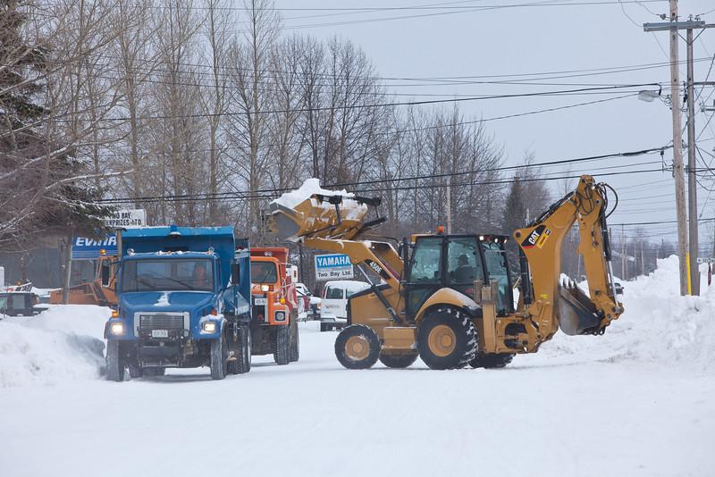 Snow removal on Ferguson Road in Moosonee February 24, 2011.