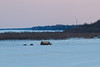 Bus and other vehicles on the Moose River, looking up river towards hydro towers.