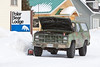 Vehicle in camoflauge paint job with Virginia plates in front of Polar Bear Lodge in Moosonee 2011 February 27th.