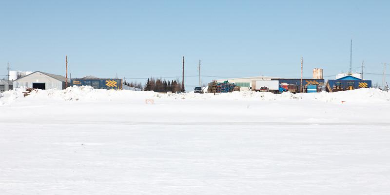 Rail sidings along the Moose River at Moosonee.