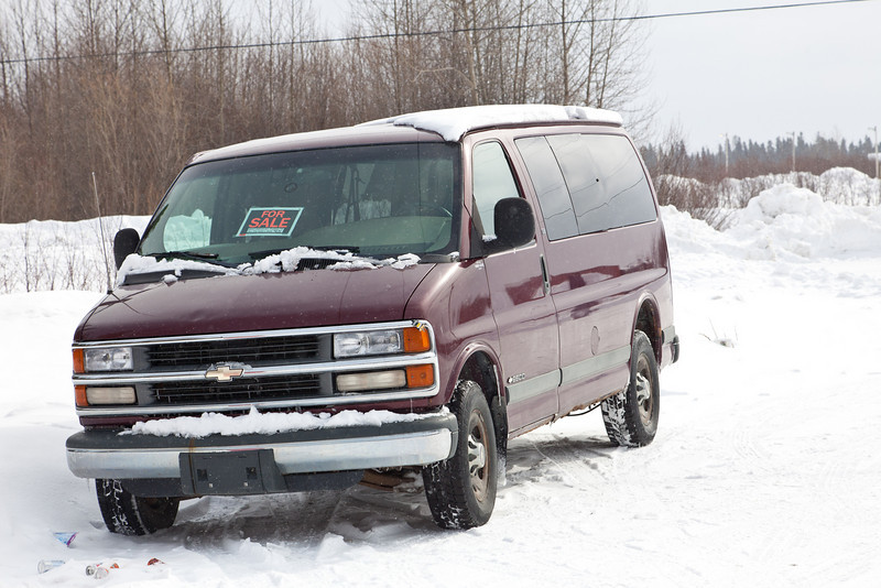 Vehicle for sale at start of winter road.