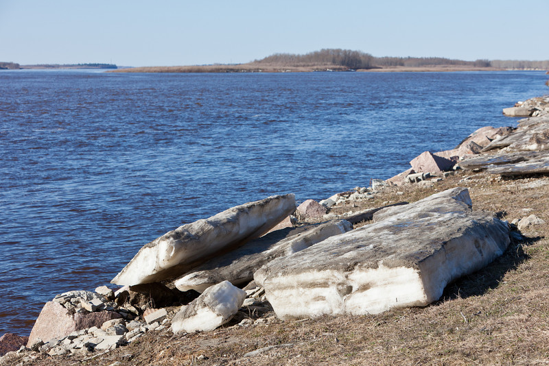 Shore ice on the Moose River at Moosonee, Ontario 2011 May 6th stranded on shore.