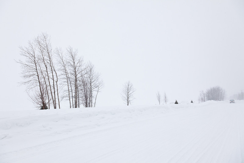 Revillon Road in Moosonee 2011 March 1st during falling snow.