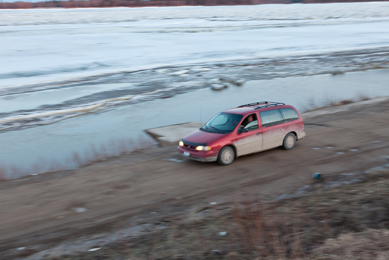 Checking out the ice in a van.