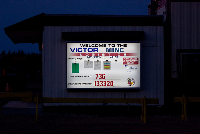DeBeers lit up safety bulletin board in Moosonee 2011 May 8th. More than two years since last lost time incident.