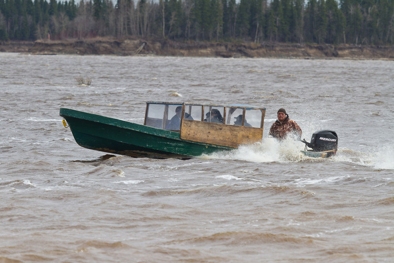 2011 May 13th canoes being used as water taxis on the Moose River
