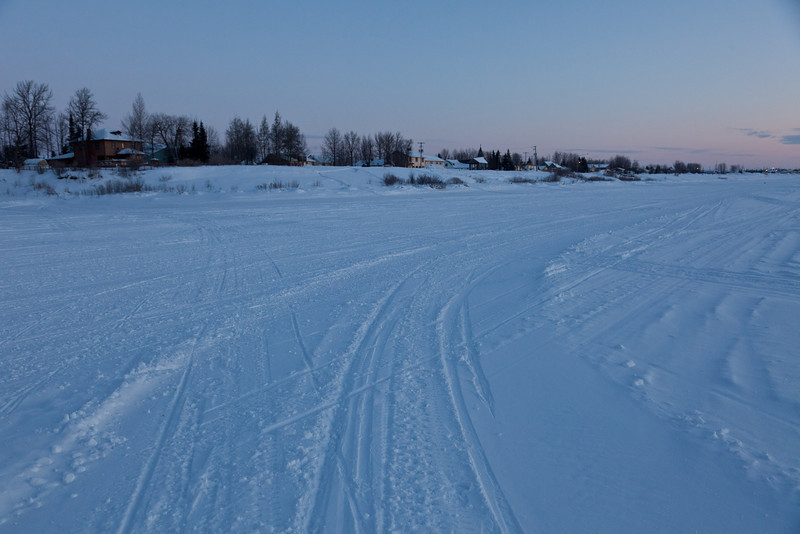 Moosonee shoreline 2011 January 30th looking down river from near mouth of Store Creek.
