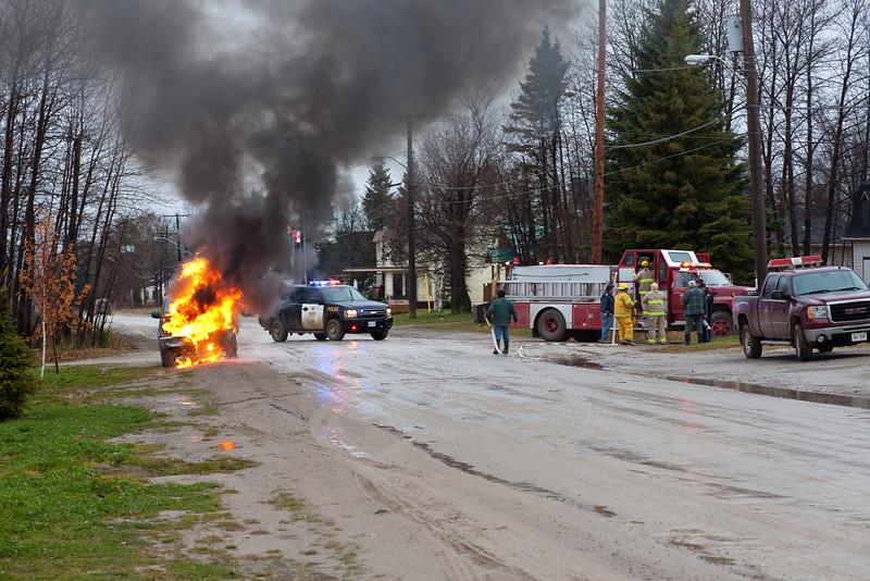 Truck fire on Revillon Road in Moosonee 2011 November 10th.