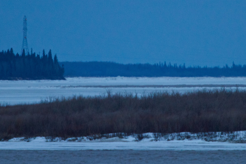 Looking up the Moose River towards hydro towers about 8:30 pm 2011 April 27th