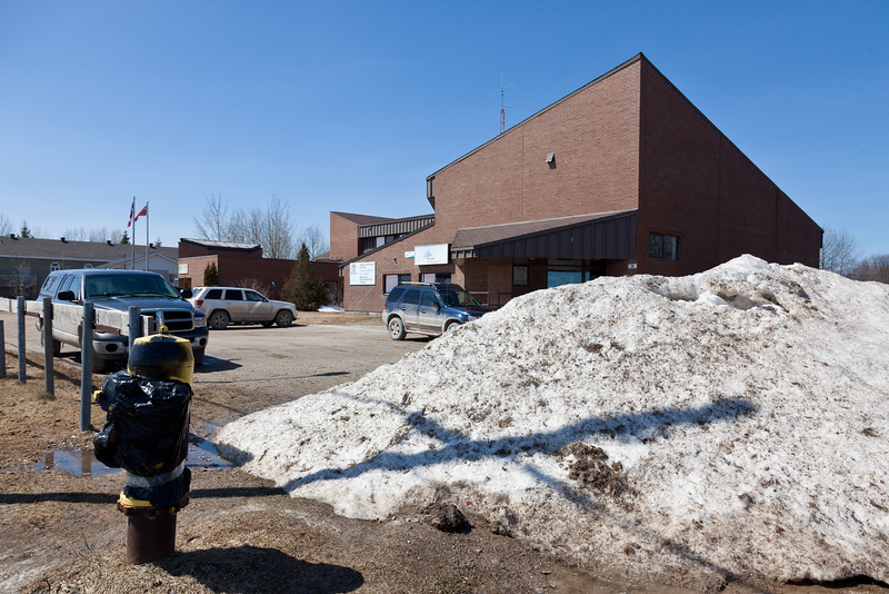 Snowpile is shrinking in corner of Ontario Government Building parking lot 2011 April 29th