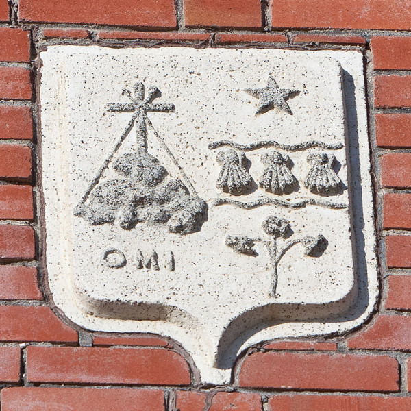 Builders; stone at Christ the King Catholic Cathedral in Moosonee honouring the Oblates of Mary Immaculate (OMI)