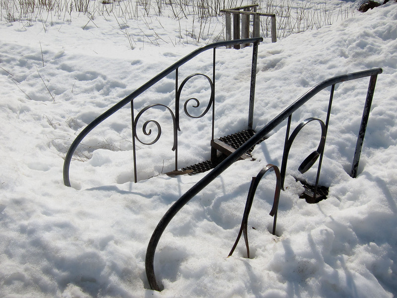 Stair case in the snow