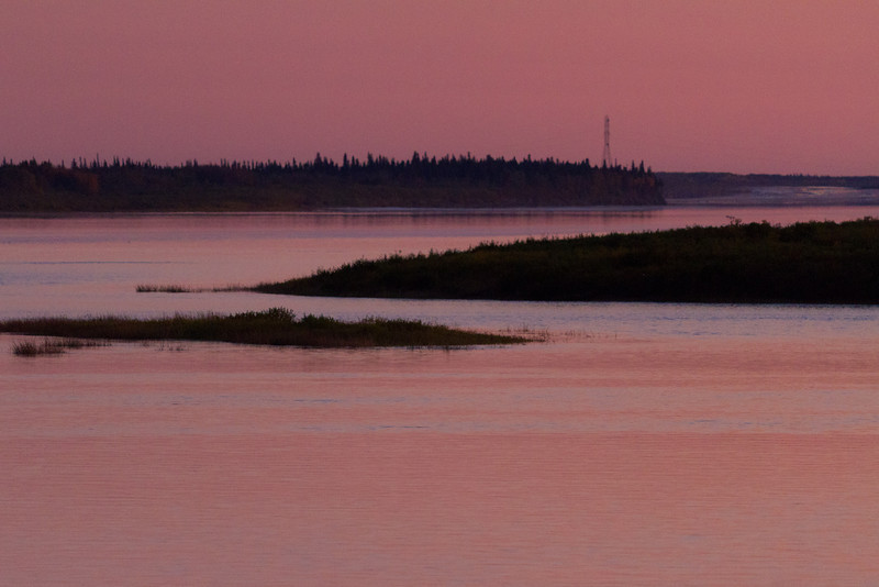 Looking up the Moose River from Moosonee towards hydro towers before sunset 2011 October 2nd.