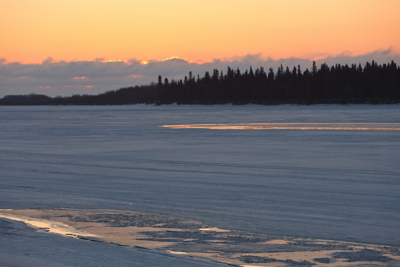 Sunrise over the frozen Moose River at Moosonee, Ontario 2011 April 14th.