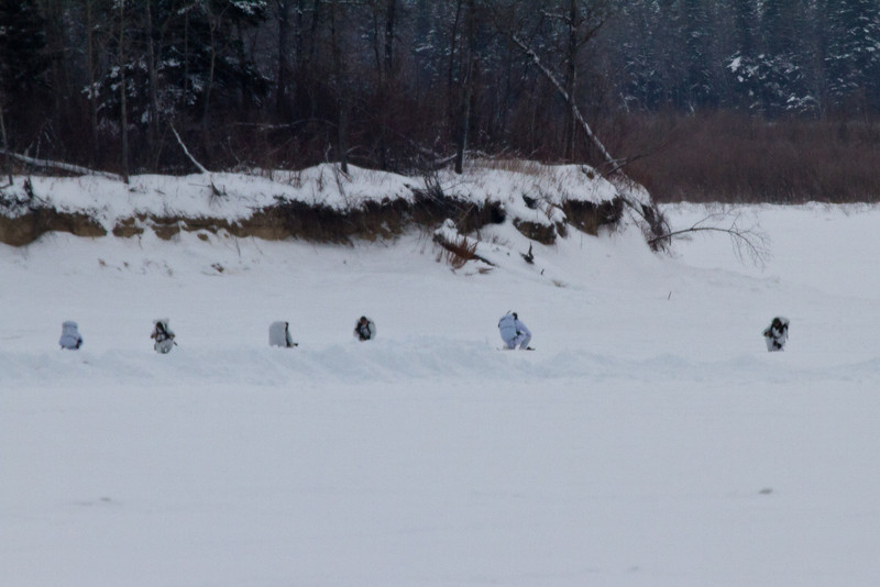 Soldiers from the Canadian Army's Petatawa, Ontario based Royal Canadian Regiment on exercises on the Moose River seen from Moosonee, Ontario 2011 January 24th.