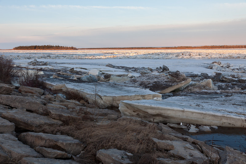 Ice on the Moose River seen from near the mouth of Store Creek