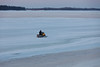 Snowmobile on the Moose River 2011 April 14th around sunrise