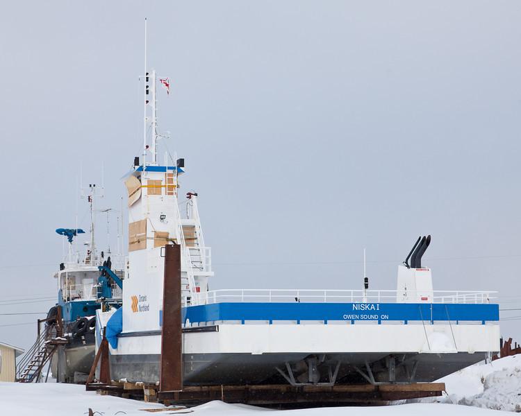New ONR barge Niska I in winter storage.