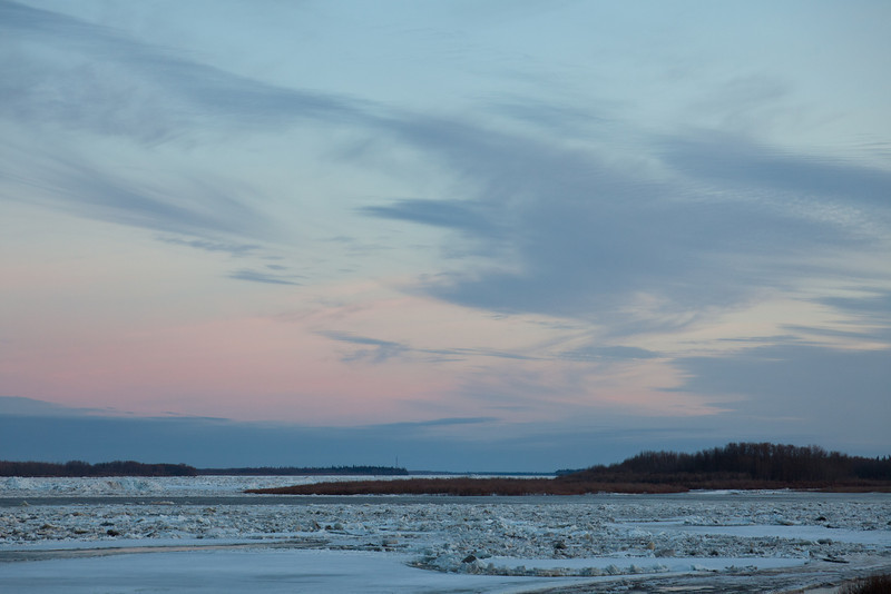 Looking up the Moose River towards the hydro towers.