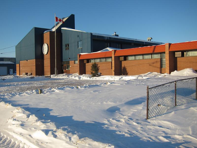 Moosonee Public School, school sign awaits replacement 2011 February 21st.