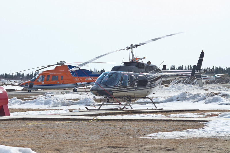 Helicopters parked at Moosonee airport