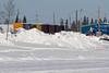 Rail cars along the Moose River