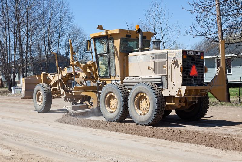 Grading operations on Ferguson Road in Moosonee 2011 May 16th