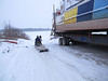 Ontario Northland barge Manitou Island II in winter storage along the Moose River.