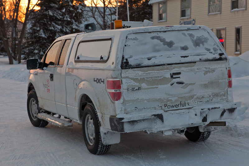 Snow covered Hydro One truck in Moosonee 2011 January 21st.
