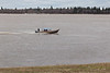 Roger Nakogee in boat taxi coming from Moose Factory 2011 May 2
