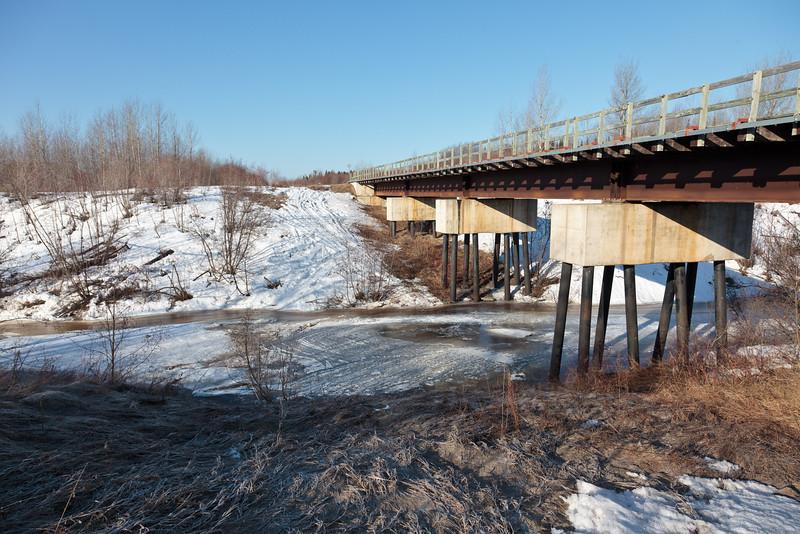 Railway bridge over Store Creek in Moosonee 2011 April 15th