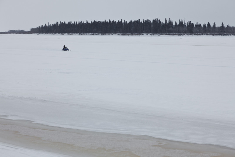 Snowmobile on the Moose River 2011 April 6th