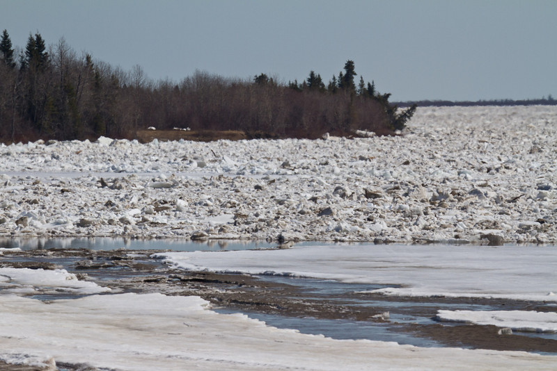 Looking down the Moose River towards water plant