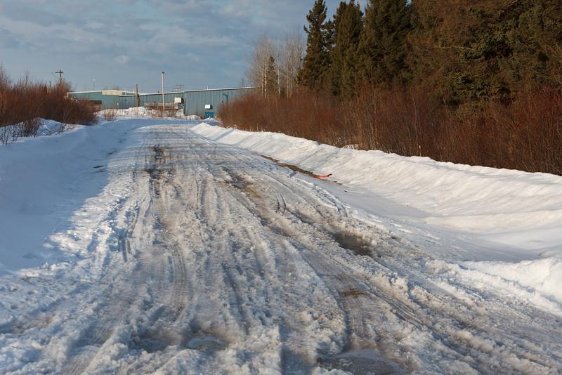 Atim Road looking towards back of Moosonee Arena.