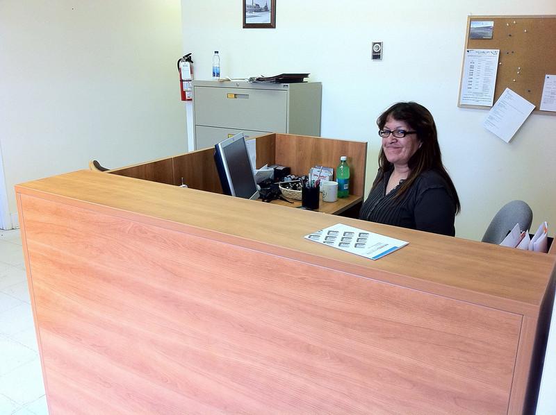 Denise Metatawabin at her desk in Moosonee HDR