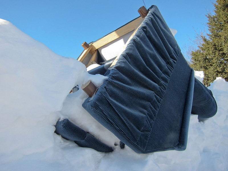 Armchair in the snow