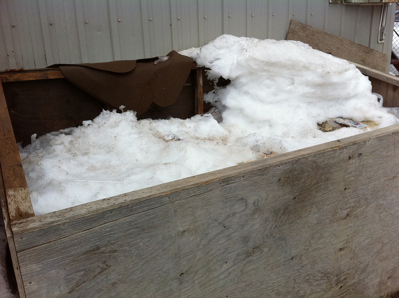 Snow in garbage box