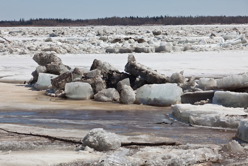 Ice on the Moose River 2011 April 29th from just down river of the mouth of Store Creek.
