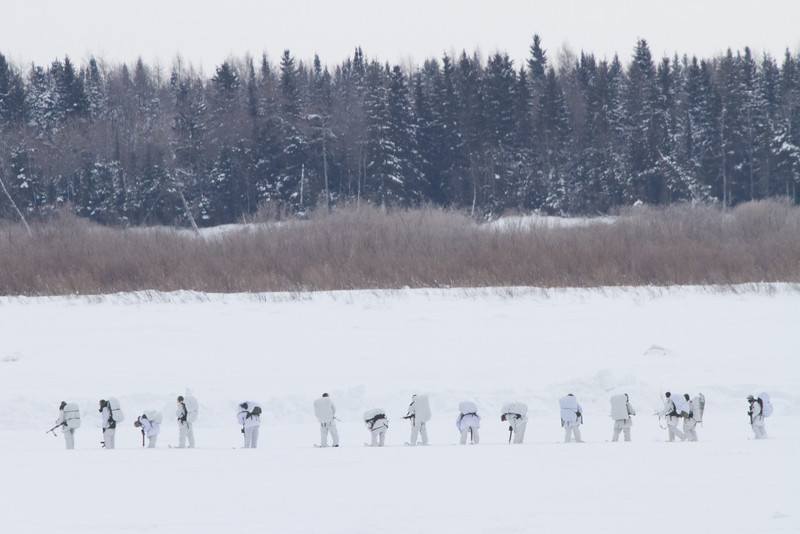 Canadian soldiers on the Moose River 2011 January 27th. Troops are part of the Royal Canadian Regiment from Petatawa.